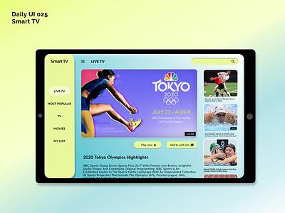 [Daily UI] 025. Smart TV olympics athelete ipad vivid smarttv tablet simple ui design modern uiux