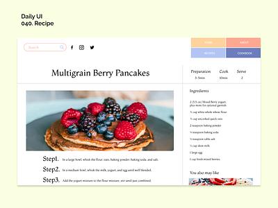 [Daily UI] 040. Recipe dailyui recipe simple design ui appdesign modern uiux