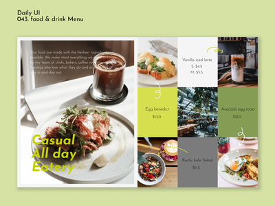 [Daily UI] 043.Food/drink menu green self-taught daily43 webdesign menu fooddrink dailyui simple design ui modern uiux