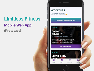 Limitless Fitness - Mobile Web App (Prototype) web app design web design prototype mobile app fitness mobile product iphone ios fitness app