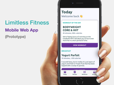 Limitless Fitness - Mobile Web App (Prototype) prototype web app design web design fitness mobile product mobile iphone app ios