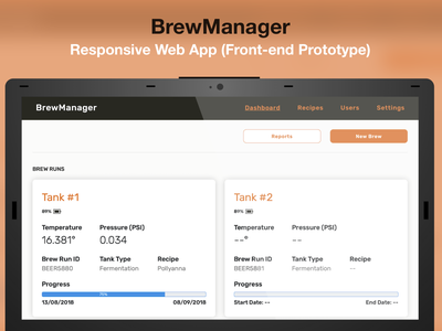 BrewManager - Responsive Web App (Front-end Prototype) front-end development prototype website responsive design web design web app design web app