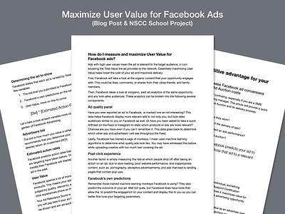 Maximize User Value for Facebook Ads — Blog Post formatting typography paper blog post blog