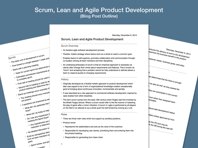 Scrum, Lean and Agile Product Development — Blog Post (Outline) formatting outline writing blog post