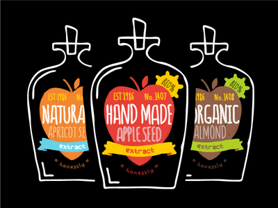 Organic Cyanide organic bottle apple apricot almond poison flat drawing illustration protest