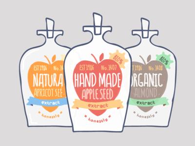 Organic Cyanide 2 illustration drawing vector flat protest organic apple almond apricot bottle