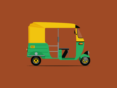Auto Rickshaw illustration vector flat auto rickshaw india