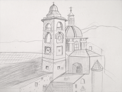 Sketch of Urbino - WIP drawing illustration sketch urbino castle city ancient fortress church tower bell
