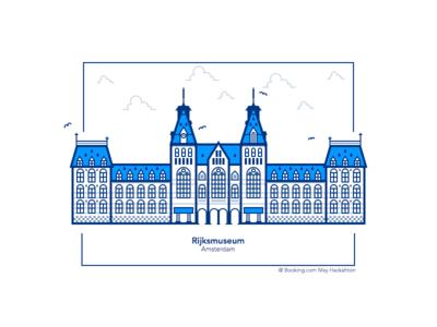 Rijksmuseum - Amsterdam booking.com amsterdam simple symmetry museum clouds vector design icon flat city illustration