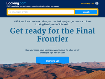 Get ready for the Final Frontier solar planet travel space star trek final frontier martian alien water nasa mars booking.com