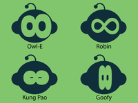 My new friends typography alien cute baby eight logo face icon green blue nice sweet china asian surprise robin goofy kung pao owl wall-e