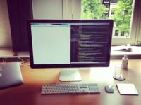 My Desk Dribble desk apple macbook air laptop mouse keyboard