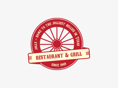 Jolly texas jolly logo retro carrige wheel vintage