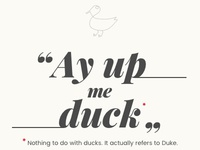 Ay Up Me Duck