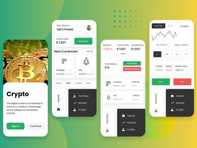 Crypto creative money cryptocurrency bitcoin crypto uxui illustration ux uidesign ui minimalism interface app simple minimal
