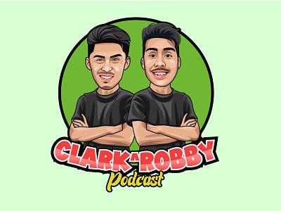 Clark & Robby Podcast icon flat graphic design vector logo illustrator illustration design branding art