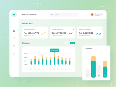 Dashboard Income Data UI Design data year wallet money income data dashboard yellow pastel green pallete clean ui minimal flat design