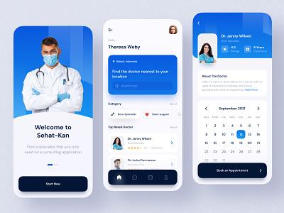 Sehat-kan Mobile Apps new healt schedule trend hospital popular trend 2021 web design mobile doctor minimalist blue clean ui flat minimal design