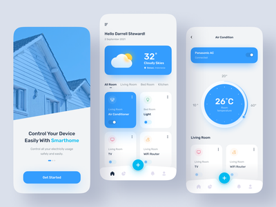 SmartHome Mobile App smart poppular 2021 trend new popular trend 2021 minimalism minimalis home web design mobile smart home minimalist blue clean flat ui minimal design
