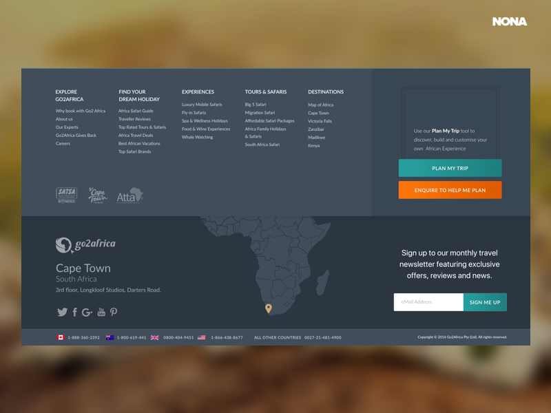 Footer for Go2Africa design web-design web footer icons subscribe buttons new ux ui map info