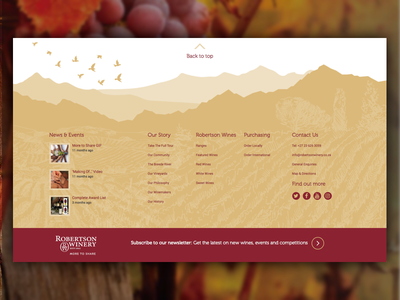 Robertson Winery Footer design-agency illustration contact news back-to-top footer landscape wine design desktop ui-design ui