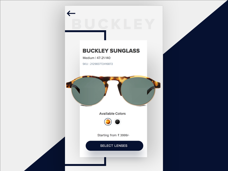 Product Page sunglass eyeglass design app page product e-commerce uidesign