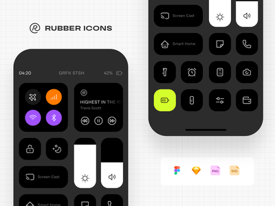 Rebuilding the iOS control centre with Rubber Icons icon design uiux design resoruces sketch icon set svg ui resources icon pack figma freebie