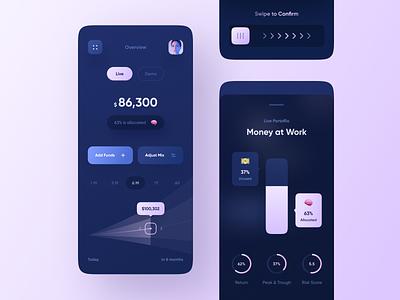 Dashboard & Adjustments for Investments app branding illustration app design mobile app design app 3d animation animation ux graphic design ui design