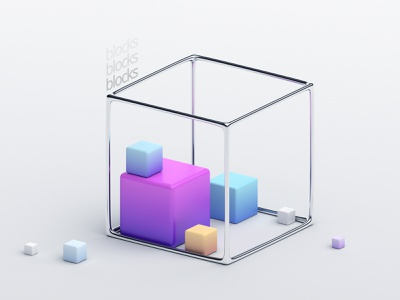 Geometric composition minimal geometric blender composition design graphic abstract color block cube render 3d