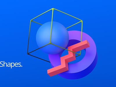 Geometric composition minimal composition abstract design graphic color blue shape geometric blender render 3d