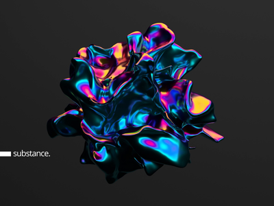 Substance art shape motion loop colorful iridescent futuristic design render abstract animation 3d
