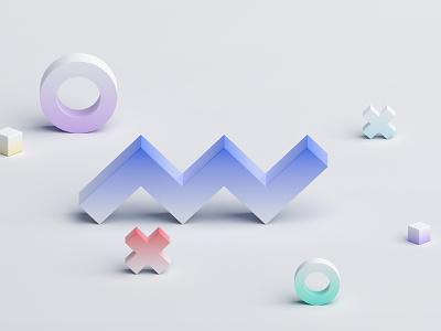 Geometric design minimal blender light color illustration geometry shape geometric graphic design background abstract render 3d
