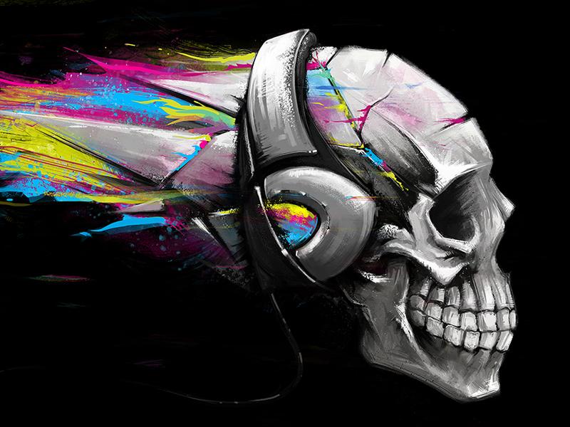 Skull illustration drawing skull digital painting headphones music explosion