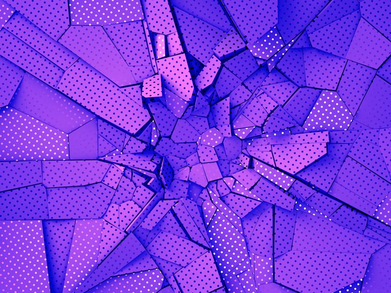 Fractured background illustration destruction wall polka dot abstract graphic design purple crack fracture background render 3d