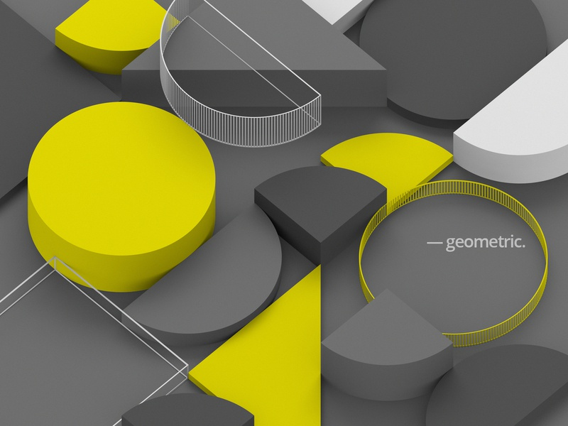 Geometric composition yellow composition geometry modern wallpaper circle background shape 3d render graphic design geometric abstract