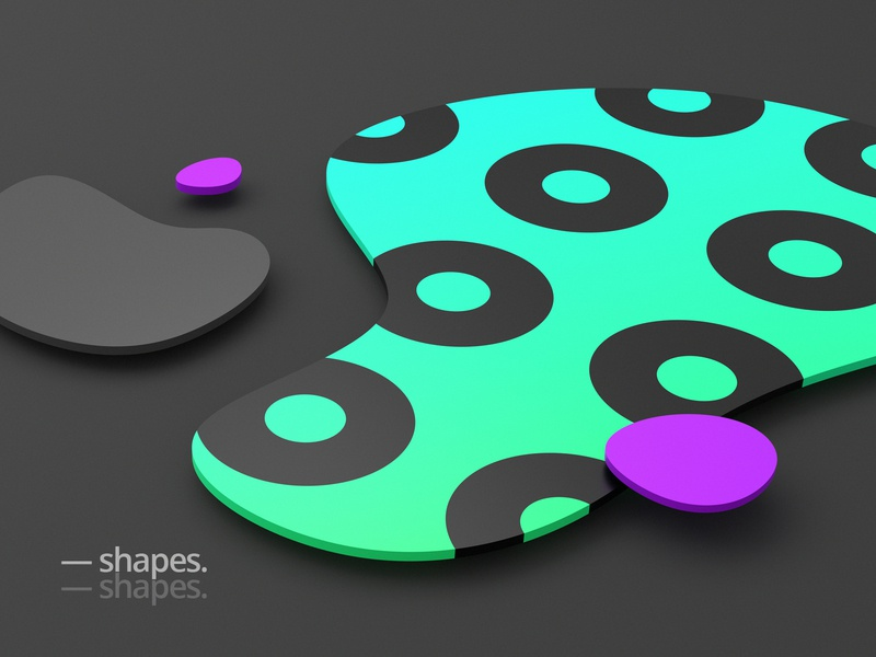 Shapes purple green circle minimal modern wallpaper graphic design 3d render background geometric shape abstract