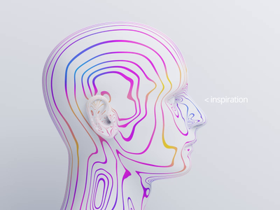 Inspiration person human shape modern art 3d render graphic design loop abstract motion design face head 3d animation
