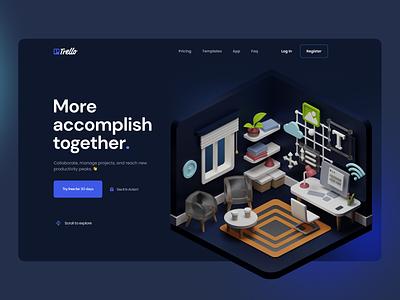 TRELLO - The concept of the new version of the redesign trello ux ui illustration animation minimal branding productdesign landing 3d graphic design design