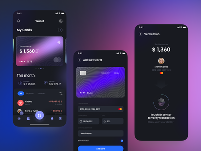 Online bank / Crypto wallet - UI/UX Design glassmorphism glass effect productdesign ux crypto currency crypto exchange crypto ui dashboad animation design cryptocurrency crypto wallet