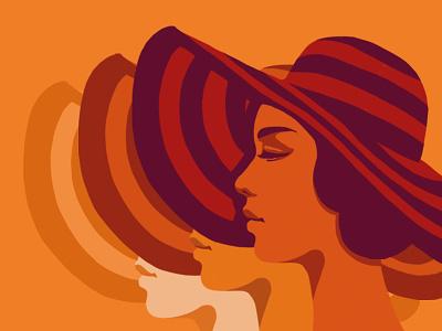 Retro beauty girl illustration flat vector vintage summer hat women beauty retro
