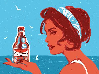 Summer taste kisswomen illustration beer drawing noise sea bottle summer vintage retro flat beauty