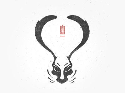 Bad rabbit stylization animal bunny illustration logo noise texture brush rabbit