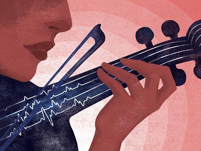 Editorial Illustration heartbeat magazine music texture noise woman violin illustration editorial