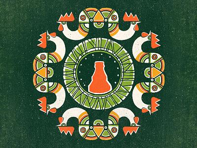 Shumensko Folk vector texture shumensko retro noise illustration rooster folk ethno bottle bomb beer