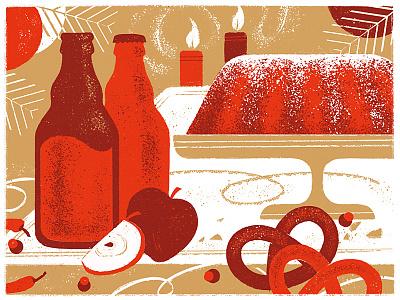 Holiday dinner bottle food card postcard retro flat brush texture dinner christmas illustration