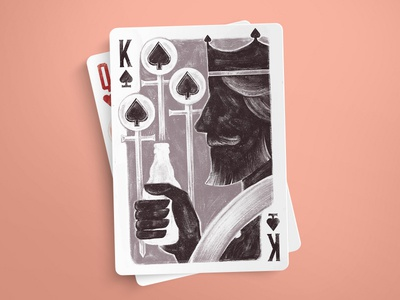 King of Spades playing cards brush retro illustration game deck card spades king