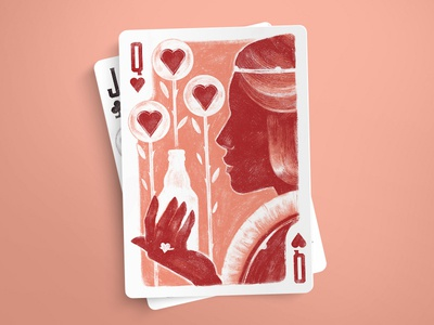 Queen of Hearts playing cards spades retro king illustration game deck cards card brush