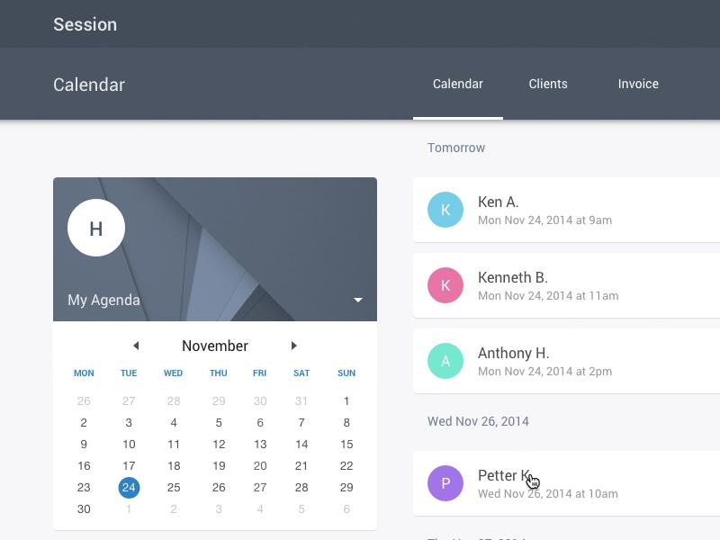 Session App - Agenda with Material Design ui web app material design sketch
