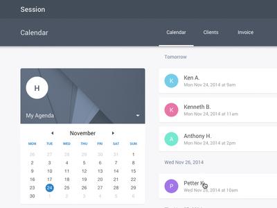 Session App - Agenda with Material Design