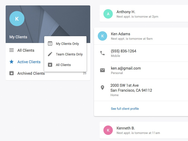 Session App - Clients with Material Design web app ui ux material design sketch